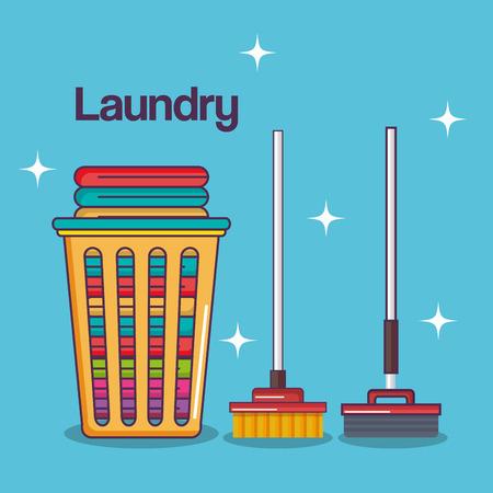 세탁 서비스 깨끗한 바구니 면화 걸레 빗자루 벡터 일러스트 레이션