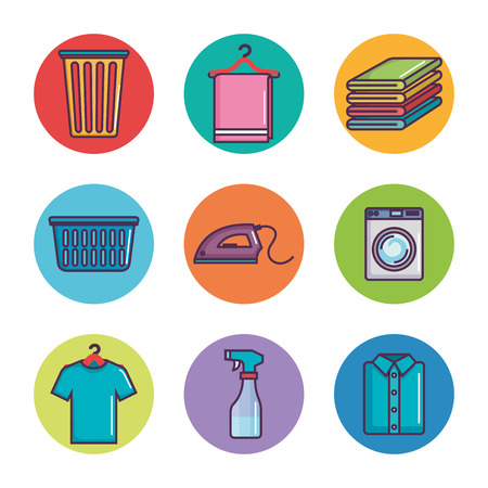 laundry and dry cleaning icons vector illustration Çizim