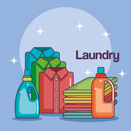 laundry bottle soap pile cloth and folded shirt vector illustration Ilustração
