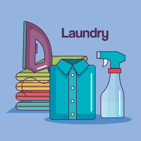 ironed: pile of fresh laundry neatly stacked after being ironed vector illustration Illustration