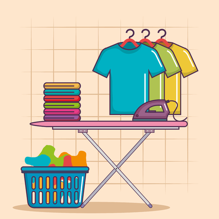 ironing board and clothes iron basket of house work cleaning service vector illustration