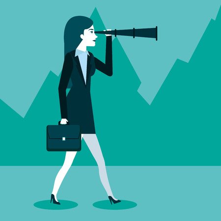 business woman using spyglass for searching of opportunities vector illustration