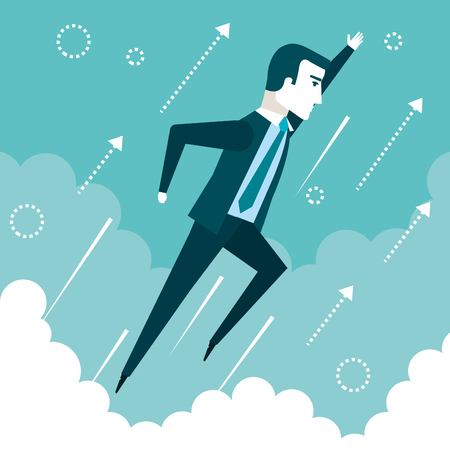 successful businessman flying in the sky success growth business concept