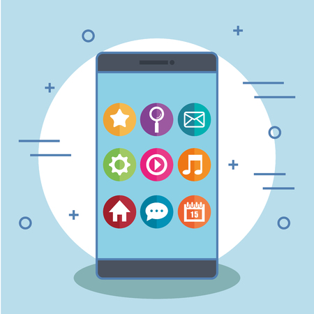 smartphone with app icons on its screen vector illustration
