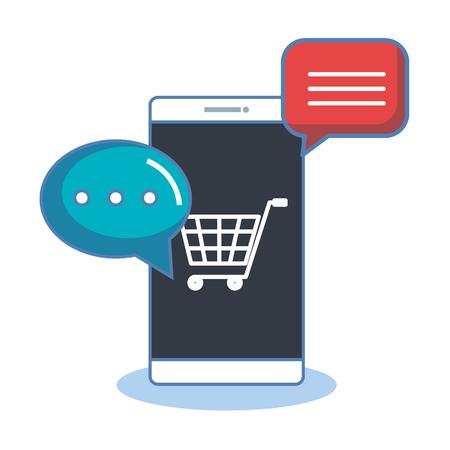 shopping online with smartphone digital internet sms vector illustration
