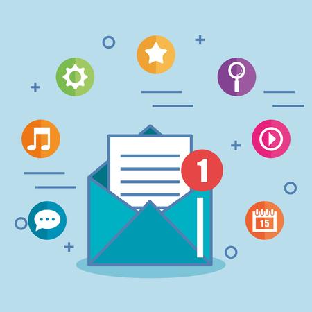 e-mail envelop marketing bericht en pictogrammen vector illustratie