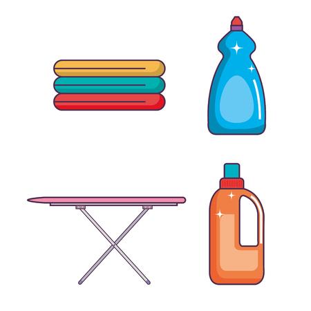 wasserij en het schoonmaken binnenlandse huishouden vastgestelde vectorillustratie