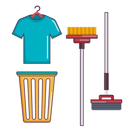 Wasserij en schoonmaak huishoudelijke huishoudelijke set vectorillustratie