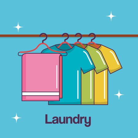laundry service clean towel and shirt hanger vector illustration