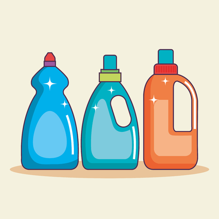 set of containers with detergent for cleaning vector illustration Ilustração