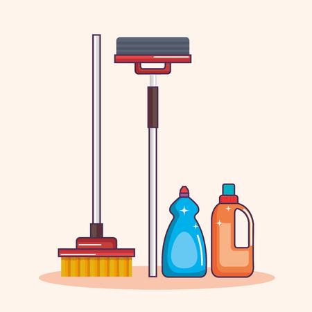 laundry equipment clear broom mop detergent vector illustration Çizim