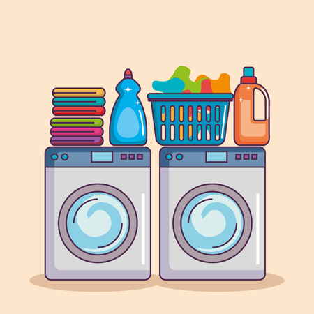 washing machine with washing powder and clean basket vector illustration