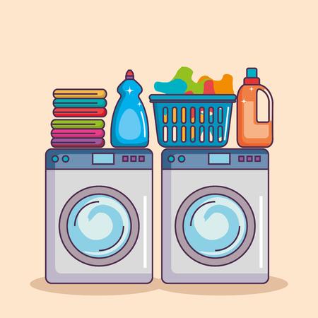 wasmachine met waspoeder en schone mand vectorillustratie