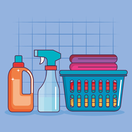 laundry basket clothes spray and detergent vector illustration