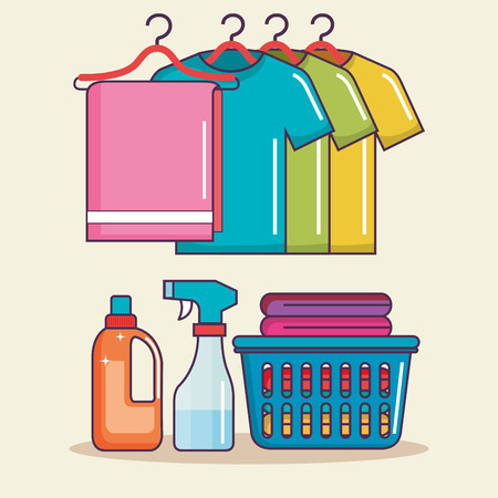laundry basket clothes hanger soap spray vector illustration Çizim