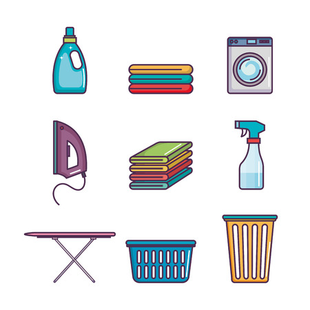 Laundry and dry cleaning icons vector illustration