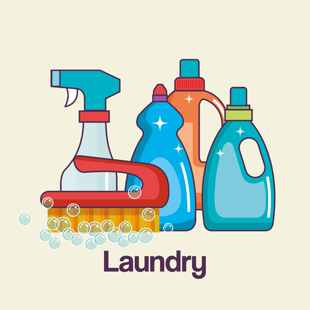 detergents and brush tools laundry and cleaning icon vector illustration