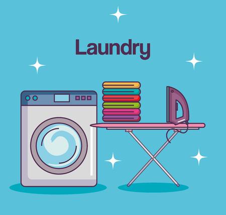 세탁 서비스 청소 기계 테이블 다림질 천으로 벡터 일러스트 레이션 일러스트