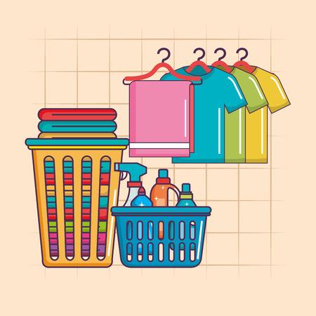 Wasserij hanger kleren en mand wasmiddelen vectorillustratie