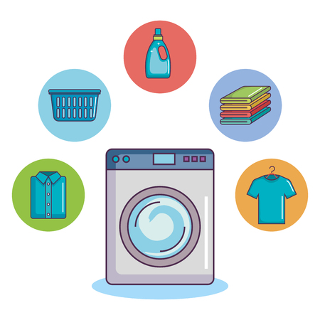 washing machine with clothes towel basket soap vector illustration