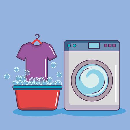 wasmachine met bekken t-shirt zeepbellen vectorillustratie