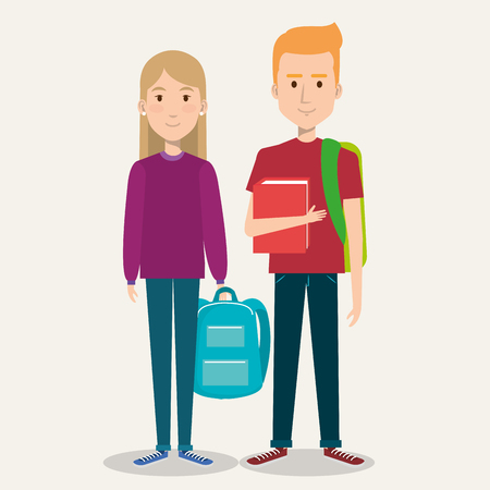 couple of students the guy and the girl on a white background vector illustration Иллюстрация