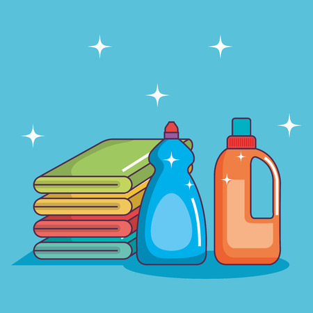 laundry pile towel bottle detergents clean elements vector illustration Ilustrace