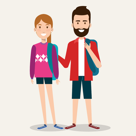 couple of students the guy and the girl on a white background vector illustration Çizim