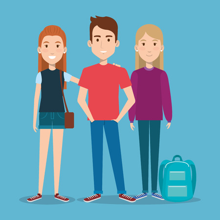 three students school standing together with backpack vector illustration Stock Vector - 83870906