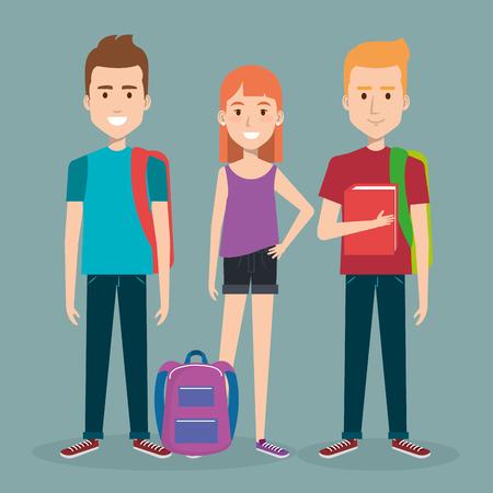 3 人の学生は帳簿に立って一緒に学校し、バックパックのベクトル図  イラスト・ベクター素材