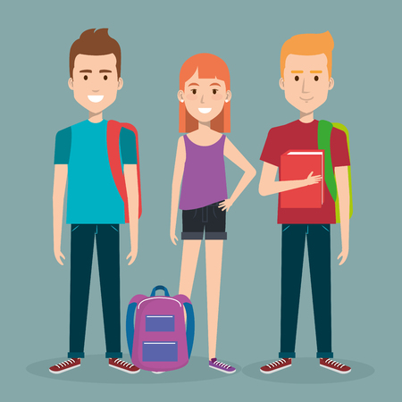 rucksack: three students school standing together holding books and backpack vector illustration