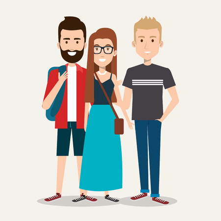 three students school standing together with backpack vector illustration Illustration