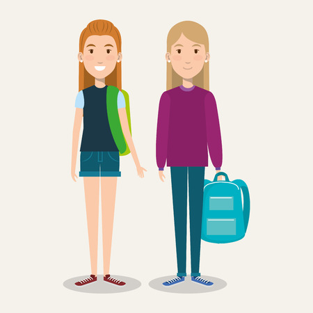 beautiful schoolgirls with backpacks on white background vector illustration Ilustrace