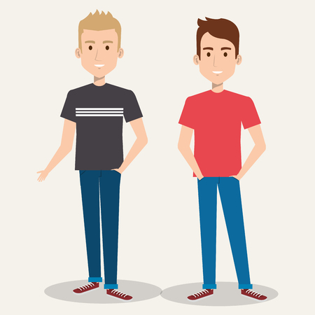 two friendly man students friends together young vector illustration Иллюстрация
