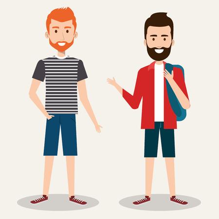 two friendly man students friends together young vector illustration Illusztráció