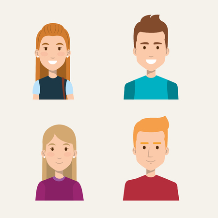 group of people students portrait young style vector illustration 向量圖像
