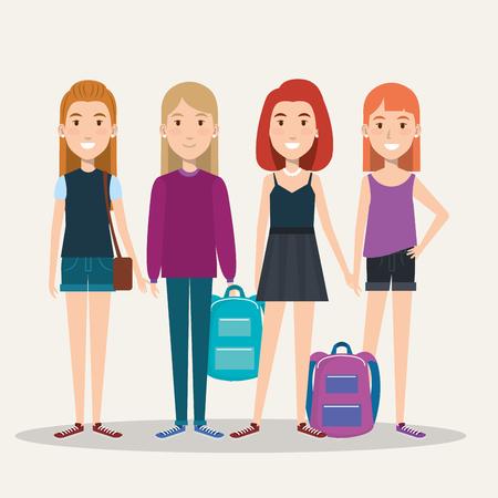 バッグ カジュアルな服のベクトル図と完全な高さの女の子学生のグループ