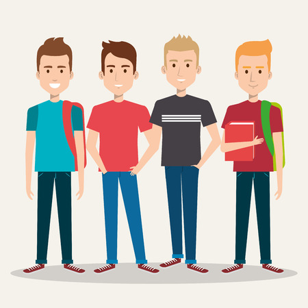 group of four boy cartoon teenager students vector illustration