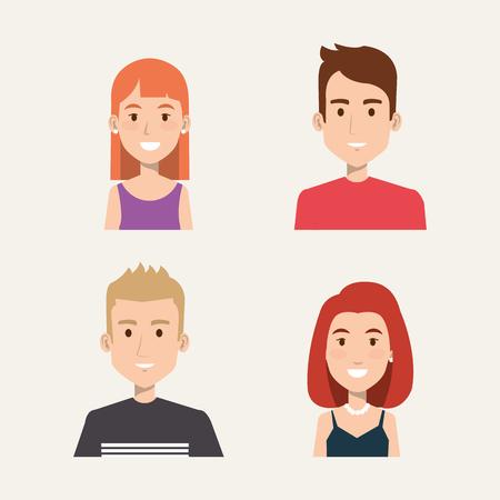 Grupo de personas estudiantes retrato joven estilo vector illustration Foto de archivo - 83870457
