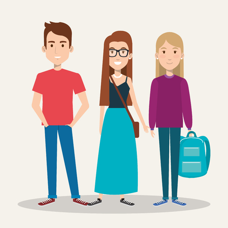 three students school standing together with backpack vector illustration Ilustração