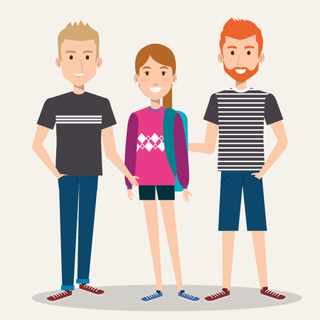 3 人の学生学校立って一緒にバックパックのベクトル図