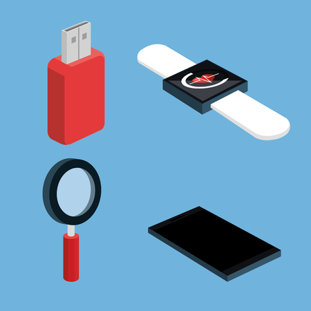 wireless connection wearable technology electronic gadgets and devices vector illustration
