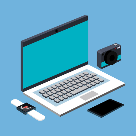 screen: laptop computer photo camera smartwatch and smartphone device gadget technology vector illustration