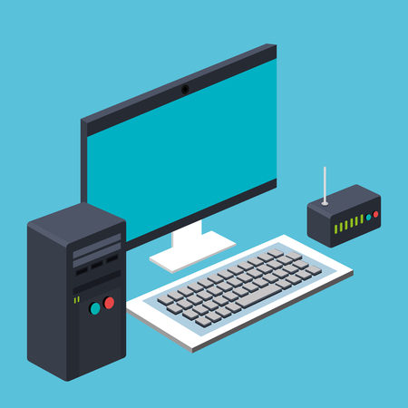 computer cpu and keyboard and router wireless vector illustration