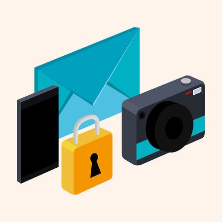 photo camera smarthpone email and lock on white background vector illustration Çizim
