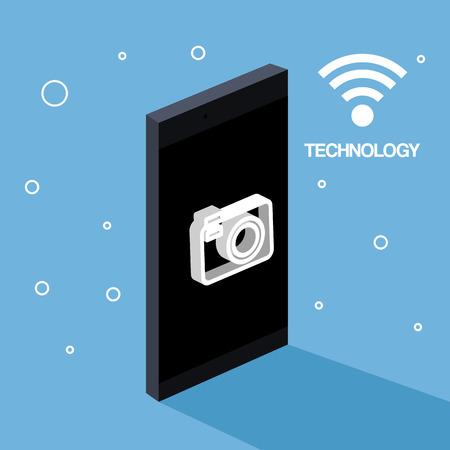 기술 휴대 전화 카메라 사진 와이파이 연결 벡터 일러스트 레이션 일러스트