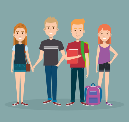group of happy students with book backpacks characters vector illustration