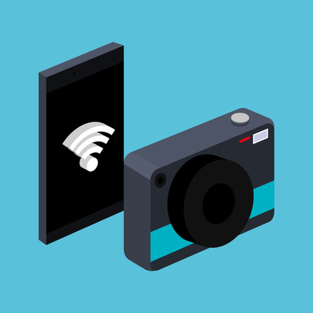 smarthpone with photo camera wifi connection signal device vector illustration Фото со стока - 83885851
