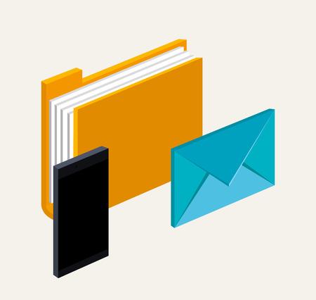 스마트 폰 폴더 파일 전자 메일 통신 디지털 기술 벡터 일러스트 레이션