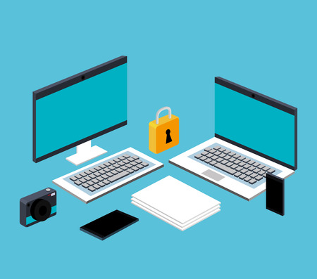 computer laptop smartphone file document secuirty technology online vector illustration